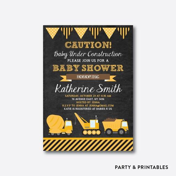 construction baby shower invitation construction invitation