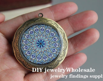1pcs 45mm Handmade Locket,Antique Bronze Brass Charm Pendant Locket