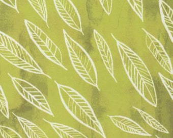 CLEARANCE! Mumseed Fallen Leaves Green Fern Fabric by Dear Stella, white leaves on a lime green background, by the half yard 100% cotton