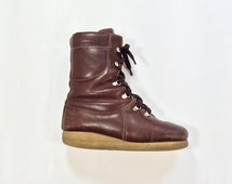 SALE 70s BASS Leather High Top Boots BOHO Reddish Brown Ankle Boot Womens Size 6 Euro 36 37 uk4 Wedge Heel Booties Riveted Lace Up Insulated