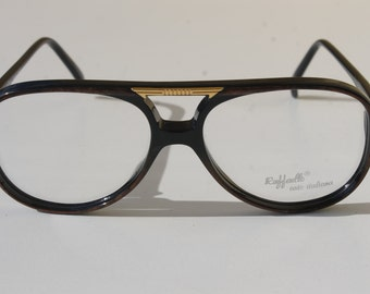 vintage RAFFAELLO arte italiana STYLE 56-17  black with brown and gold detail double bridge aviator eye/sunglasses frame made in Italy New
