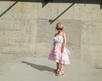 Girls Flamenco Party Skirt in Sugar Pink