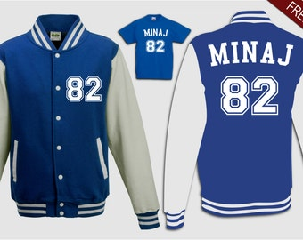 custom minaj 82 teens varsity sweater jacket blue white