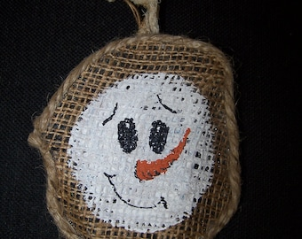 Hand painted recycle crushed soda/pop can primitive snowman Christmas ornament