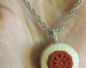 Vintage bobbin button necklace