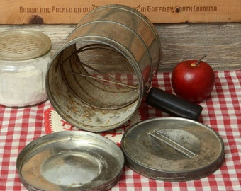 VINTAGE DOUBLE SIFTER, with a cover and bottom for double sifting ingredients.