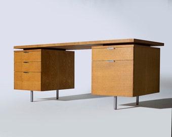 Vintage Mid Century Modern George Nelson Herman Miller Double Pedestal Desk