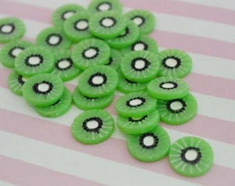 16mm Kiwi Flatback Resin Decoden Cabochons - 6 piece set
