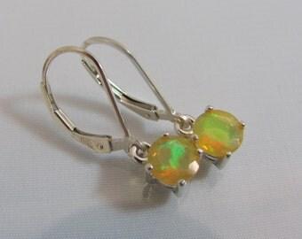 Ethiopian Opal Earrings, Leverback Earrings, Welo Fire Opal, 6mm Faceted Opal Gemstone, October Birthstone, Sterling Silver, Bride Earring