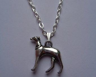 Silver plated metal chain necklace with metal Greyhound, lurcher, whippet type dog charm, pendant