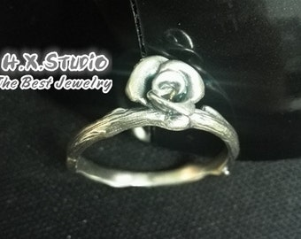 Handemade Silver Rose Flower Ring, Romantic Rose Ring, Teenage, Valentine, Christmas, Bridesmaid Rings, Bridal, Wedding, Gift