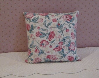 Laura Ashley Large Floral Print Pillow Cover in Pinks and Teal