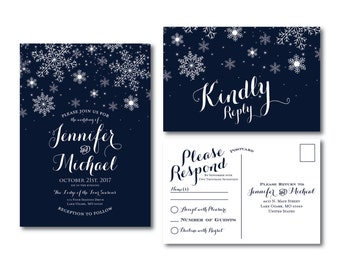 Winter Wedding Invitation - Winter Snowflakes - Winter Wedding - Wedding Invitation - Rsvp Postcard - Wedding Rsvp - Printable #CL109