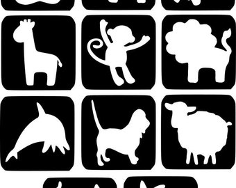 Refill Stencils Only #8 - 11 X animal Glitter Tattoo Stencils Refill Your Glitter Tattoo Kit