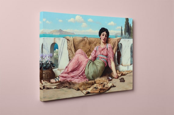 A Quiet Pet John William Godward Mirror Wrapped Canvas