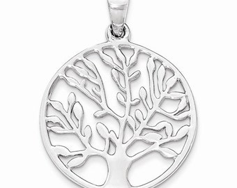 Sterling Silver Tree of Life Round Pendant Charm LKQQP4321