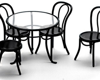 DOLLHOUSE MINIATURE Black Patio Table And 4 Chairs Set #S8507