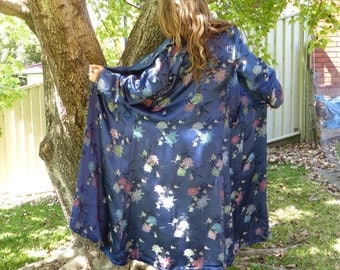 Early 80's Navy Blue Chinese Kimono, Coat, Robe, Maxi Length, Chrysanthemum Print, Fully Lined, Size Small-Med-Lge