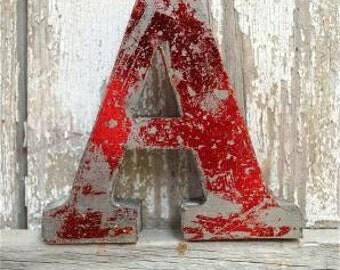 A fantastic vintage style metal 3D red letter A