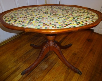 """Rare Antique/Vintage Full Mahogany Claw Foot Mosaic Coffee Table by Imperial  """"Duncan Phyfe Style""""- FREE SHIPPING"""