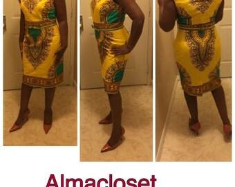 Classic Dashiki dress/ Dashiki pencil dress in new dashiki colors/ african fabric dress