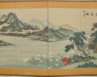 """Antique Japanese Four Panel Silk Painting Lakeside Scene on Gold 59"""" x 34.75"""""""