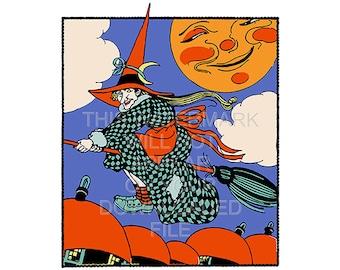 Vintage Halloween Flying Witch - Instant Download Digital Image File