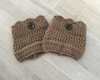 Knit Boot Cuffs in BROWN