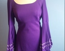 Upcycled vintage 70s dress purple mini dress