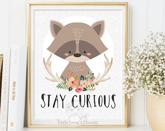 printable kids gift Stay curious Nursery wall art print raccoon woodland Decor illustration nursery decoration quotes children 114