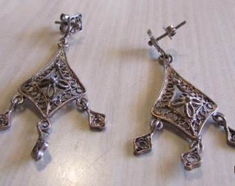 Sterling Silver Filigree Dangle Post Earrings
