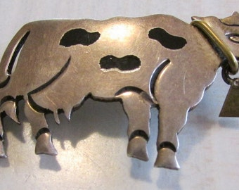 Sterling Silver Spotted Cow Pin From Mexico