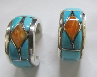 Sterling Silver Turquoise and Spiny Oyster Inlaid Hoop Post Earrings