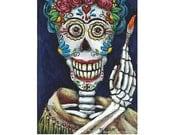 ACEO Original ATC Miniature Acrylic Painting Frida Kahlo Mexican Sugar Skull SFA [Not a Print] Ohio Gulat