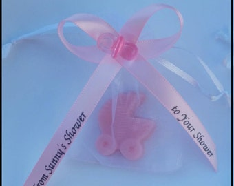 Baby Shower Party Favors - Custom Stroller Soap with Personalized Ribbons for Gender Reveal It's a Boy It's a Girl | Pack of 10