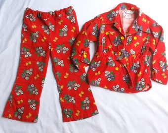 Vintage Corduroy Pant Suit Pantsuit Flower Power Children Child Toddler Healthtex 4T
