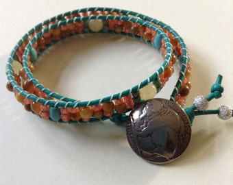 Gemstone Leather Wrap Bracelet