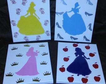 4 piece Princess canvas set
