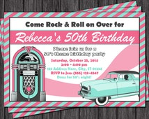 50's Birthday Invitation - Sock Hop Theme - 1950's Fifties Invitation