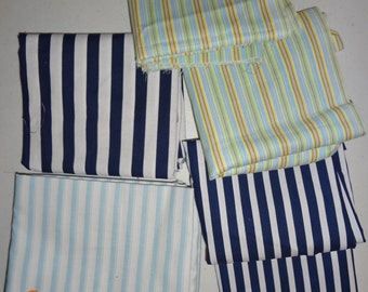 Assorted Lot of Striped Cotton Fabric Pieces