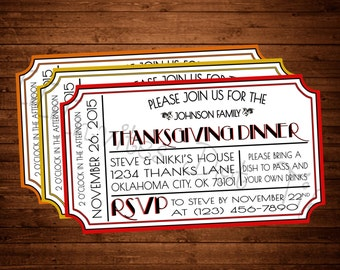 Ticket Style Thanksgiving Invitation (Printable)