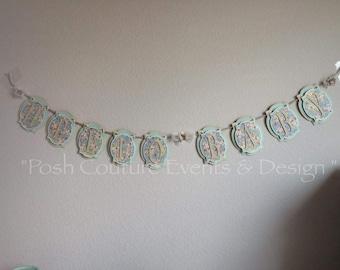 Vintage Baby Shower Banner/ Vintage Baby Sign/ Vintage Floral Banner/ Vintage Birthday Banner/ Floral Baby Shower/Vintage Bridal Banner
