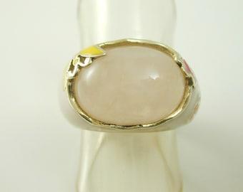 Rose quartz solitaire enamel ring sterling silver size K flowers & butterfly ut