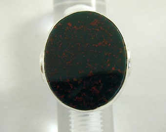 Large Handmade Sterling Silver Romanesque Design Bloodstone Set Ring Size N