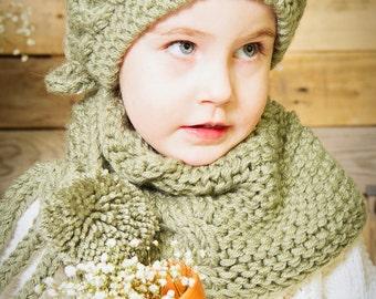 Baby Girl Headband & Neck warmer set, Handmade, Knit, Pompoms