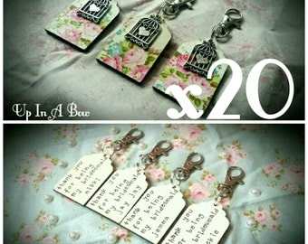 SPECIAL OFFER set of 20 personalised wooden tag keyring. Can be made in a wide range of designs and with many different charms.Bridesmaid