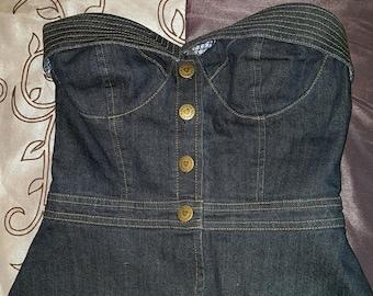 Vintage Betsey Johnson Denim Corset bra top