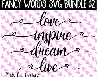 Cricut SVG - Cutting Files - Love Inspire Dream Live SVG Cut File - Inspiration - I Love You - Live Your Dream - Silhouette