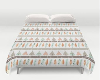 Teepee Tribal Duvet Cover - Toddler Bedding - Woodland Bedding - Teepee Bedding - Tribal Bedding