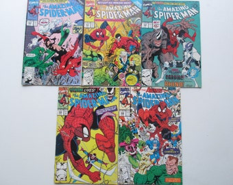 Vintage the Amazing Spider-man Comics. Upcycling supply. 1990-91. Lot of 5. (Mar3)